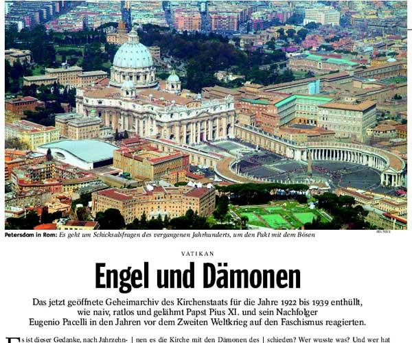Der Spiegel 41/2006 über die Öffnung des vatikanischen Geheimarchives für die Jahre bis 1939